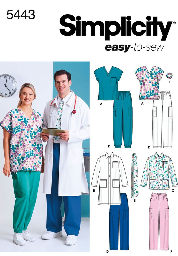 Women and Men Scrub sewing pattern 5443 Simplicity