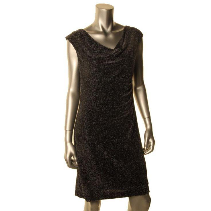 Lauren Ralph Lauren Womens Petites Metallic Cowl Neck Cocktail Dress
