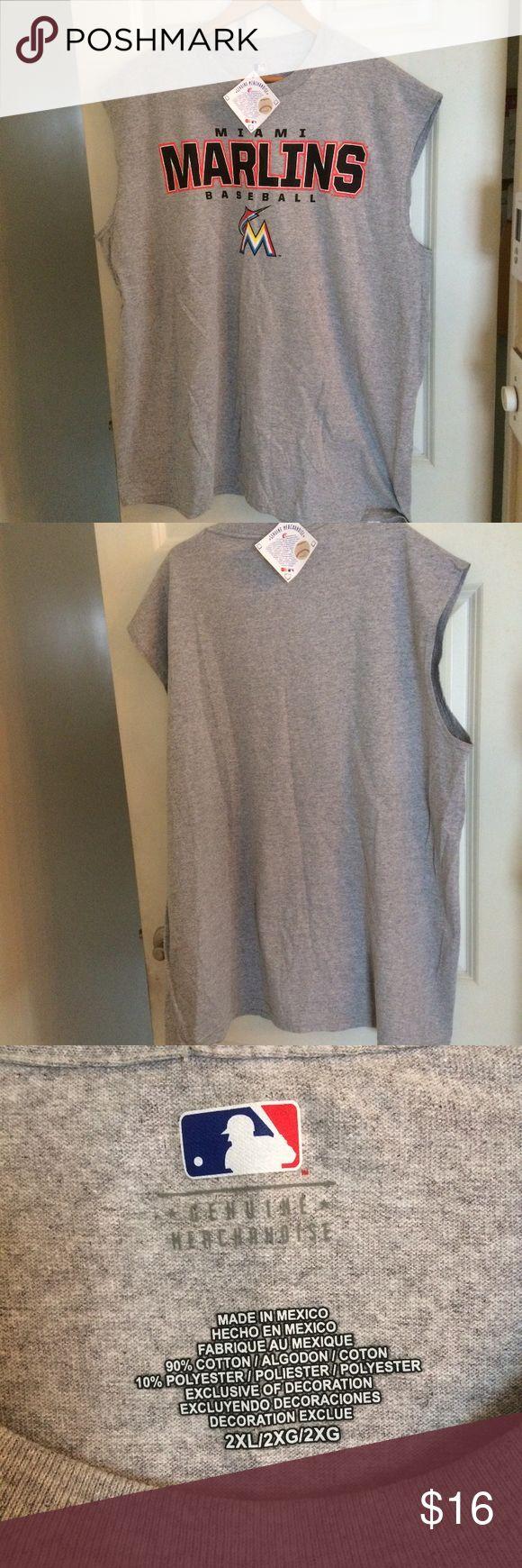 Miami marlins sleeveless baseball t shirt Miami marlins sleeveless baseball t shirt 2XL NWT 90%cotton 10%polyester Shirts Tank Tops