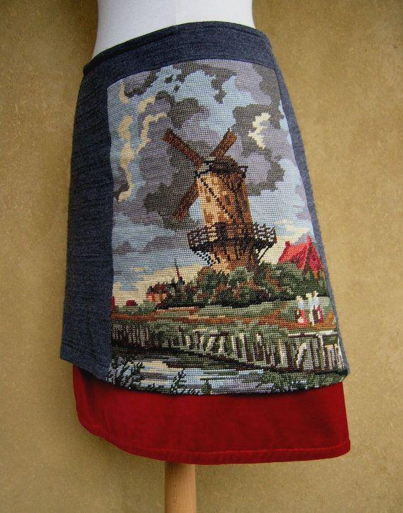 Molen van Ruisdael borduurwerk rok, grijze jersey en fluweel rok, A-lijn rok, gevoerd, grijs rood, maat Medium