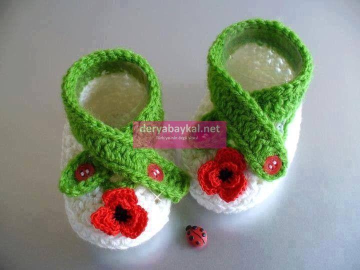 Çiçekli Bebek Patiği Yapimi