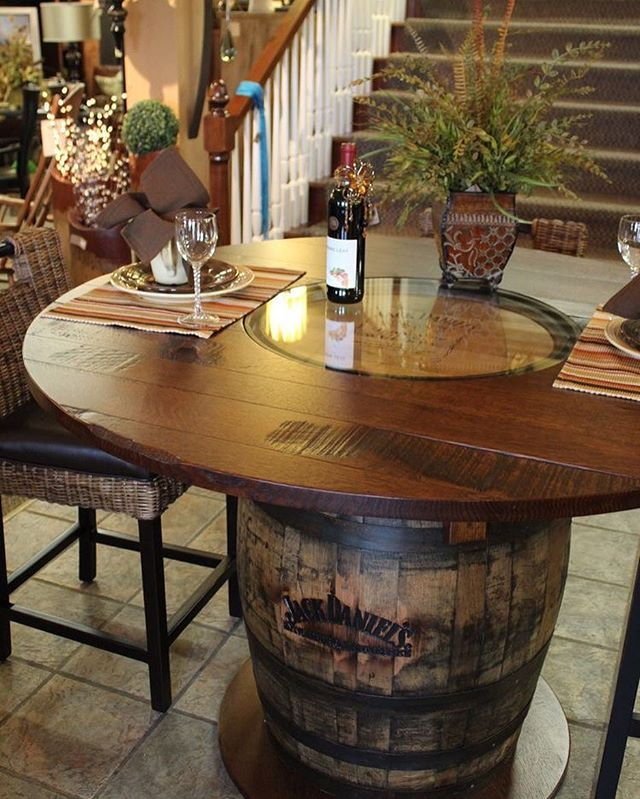 By @stonebarnfurnishings  Whisky Barrel Table| Beautifully Handcrafted