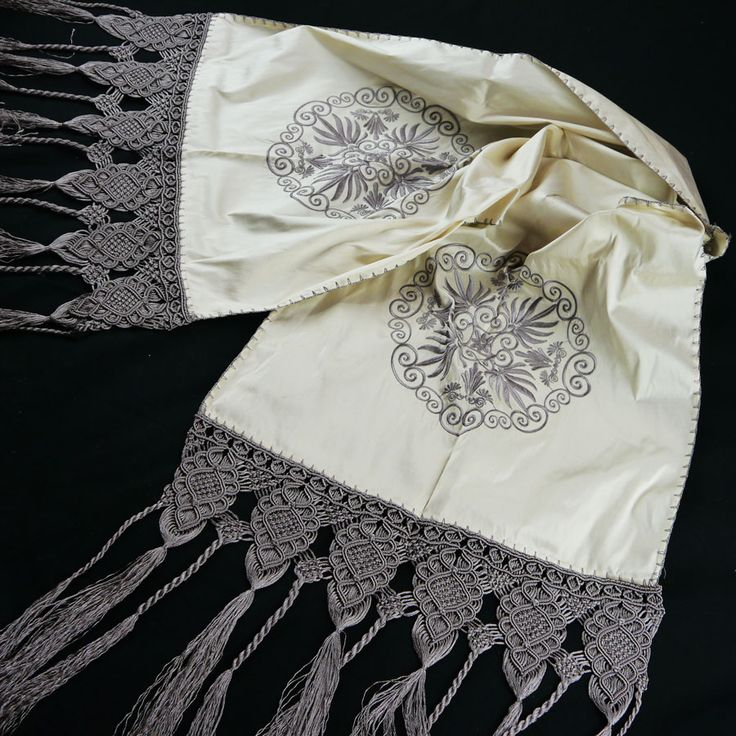 SILK TABLE RUNNER WITH EMBROIDERY AND HANDMADE MACRAME 44