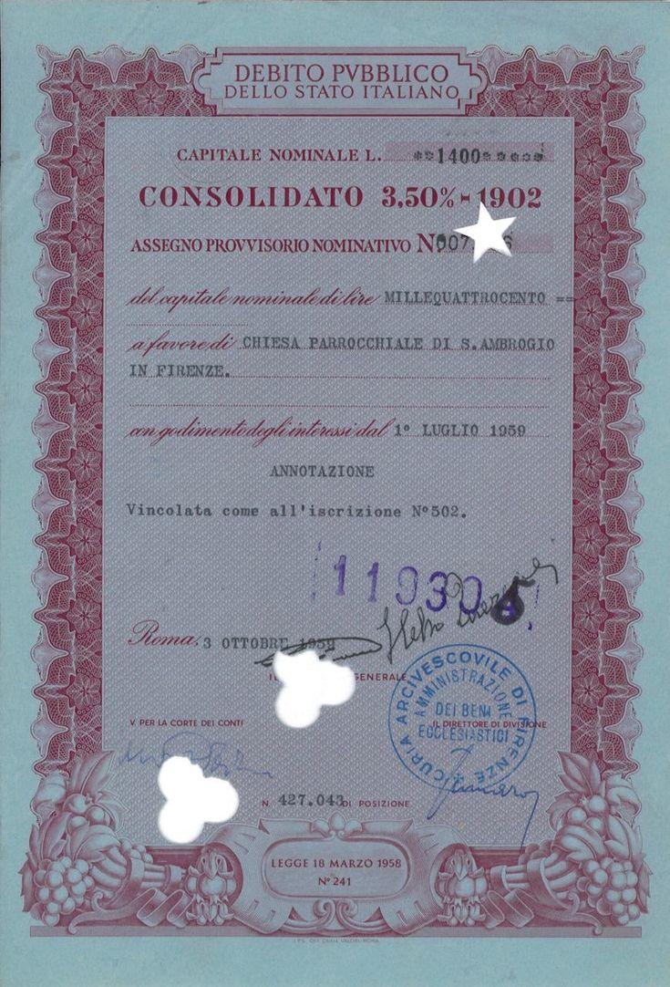 DEBITO PUBBL. DELLO STATO ITALIANO - CONSOLIDATO 3,50% - ASSEGNO PROVV. NOM. - #scripomarket #scriposigns #scripofilia #scripophily #finanza #finance #collezionismo #collectibles #arte #art #scripoart #scripoarte #borsa #stock #azioni #bonds #obbligazioni