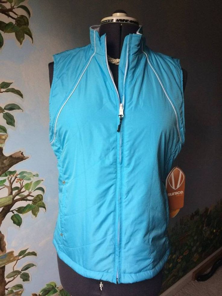 SUNICE Golf Vienna Reversible Blue Vest Quilted Water Repellent SZ L NEW #Sunice #Vests