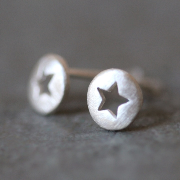 Star Cutout Stud Earrings in Sterling Silver [14_ER03] - $38.00 : michelle chang jewelry