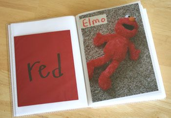 Make your own colors book - you could do all kinds of things like this - numbers, letters, etc. Great for vocab building too.