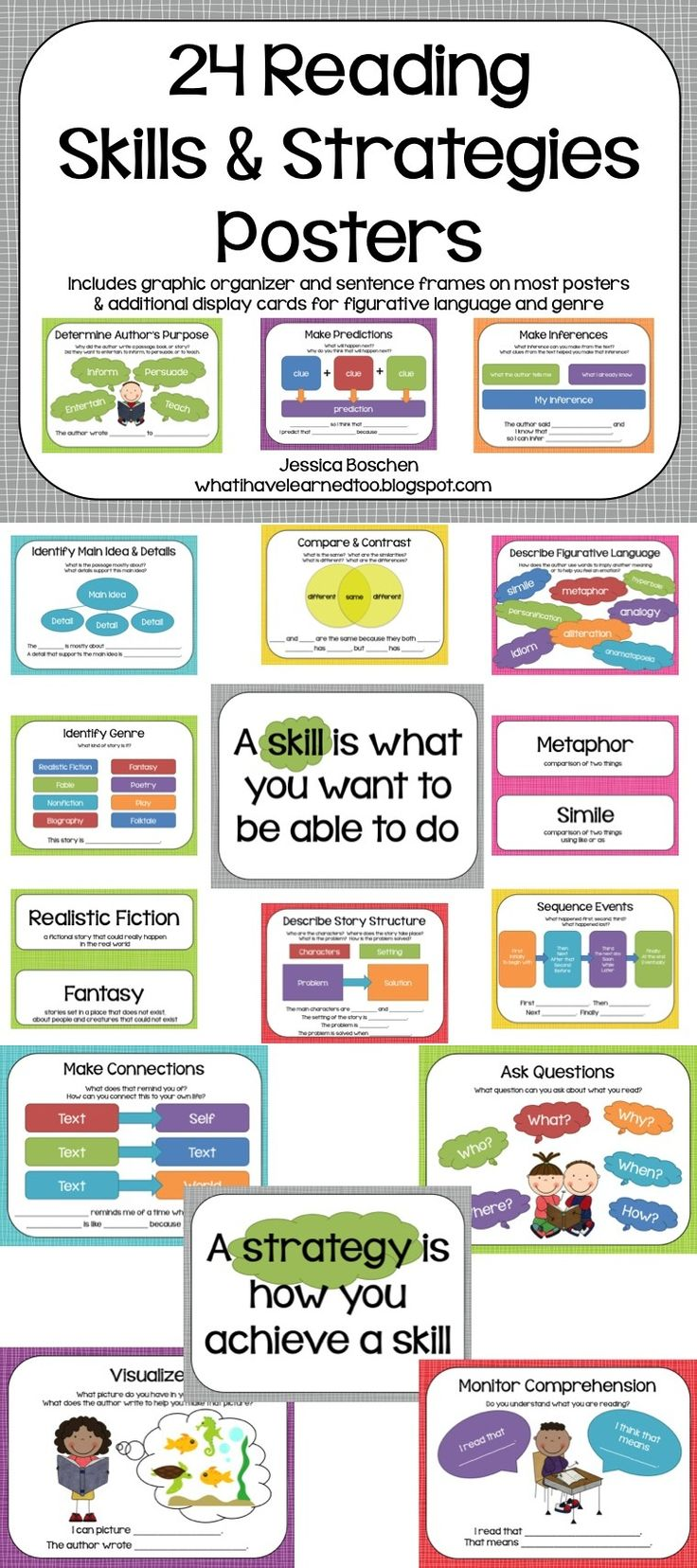 Included are 24 reading comprehension skills and strategies posters. Each poster has the name of the strategy, prompts that you might ask students, a sample graphic organizer, and sample student responses with sentence frames (when applicable).