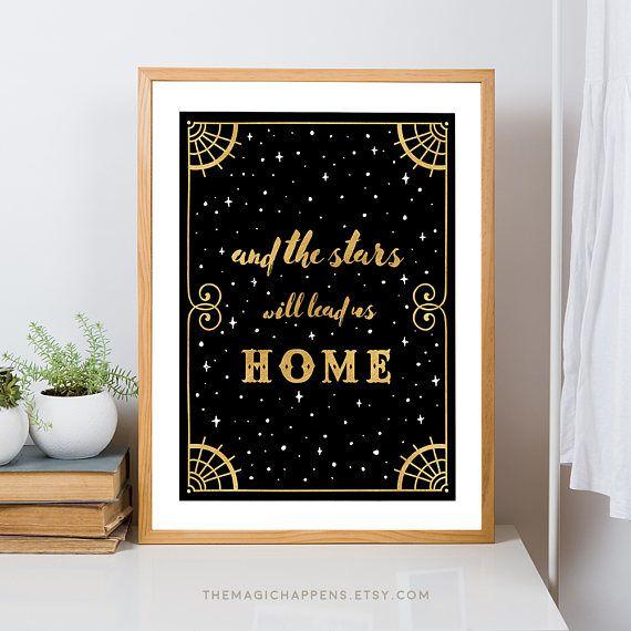 Home Quotes Wall Art Printable Stars Art Deco Print Boho