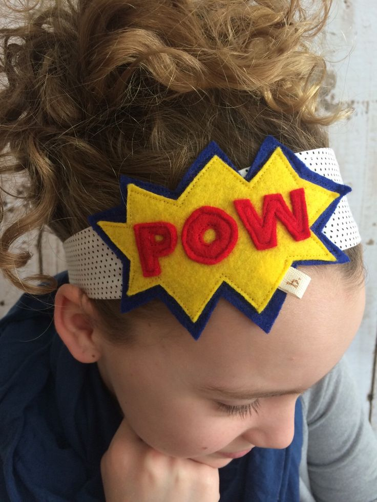 POW Superhero Fabric Headband: Black Polka Dot Band with POW by letterbdesigns on Etsy https://www.etsy.com/listing/224543824/pow-superhero-fabric-headband-black