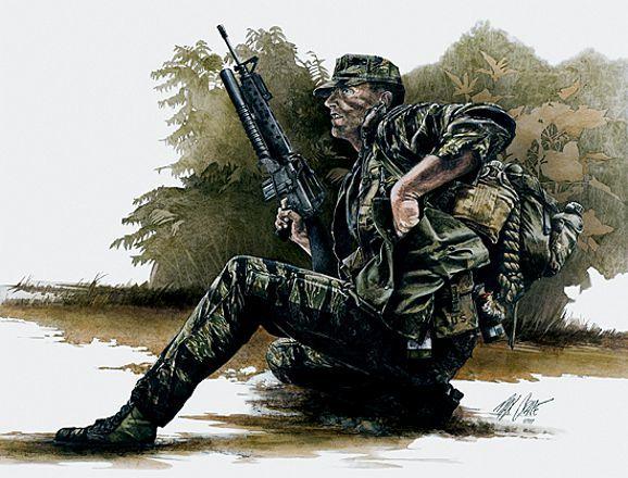 Vietnam - USMC Force Recon with M16 con lanzagranadas M203 de 40mm