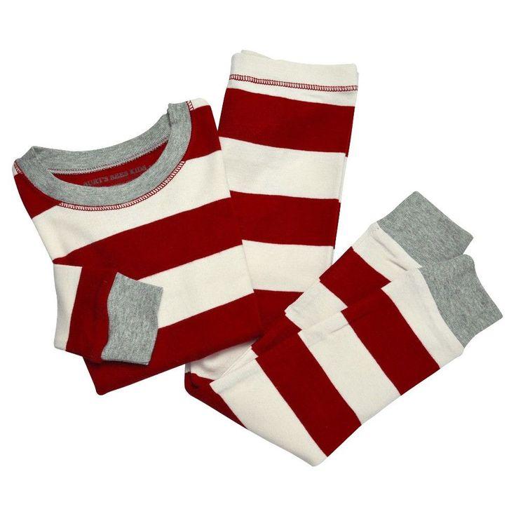 Burt's Bees Baby Kid's Organic Cotton Striped Pajamas Cranberry XS, Pink