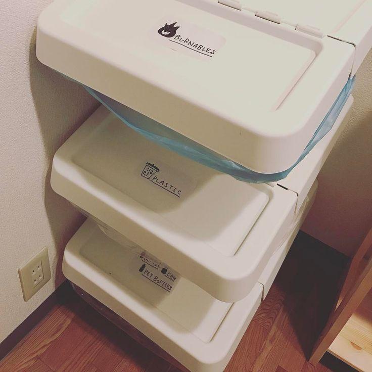 「小林さんちの#ゴミ箱 もはや#行きつけ#IKEA にて#分別用#購入 #シール はIKEAの真っ白シール70円に#インスタの#オシャハウス#参考に#油性ペン で#手描き ✏️❤️…」