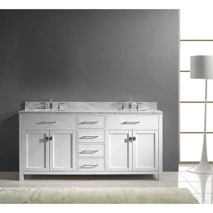 Art Exhibition Virtu USA Caroline inch Carrara Marble Double Bathroom Vanity Set with No Mirror