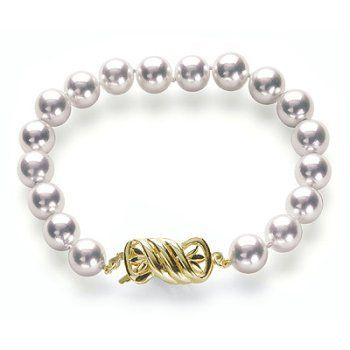 """7.5x8mm AAA Quality Silver Overtone Japanese Akoya saltwater cultured pearl bracelet 7"""" with 18K Gold Clasp American Pearl. $795.00"""