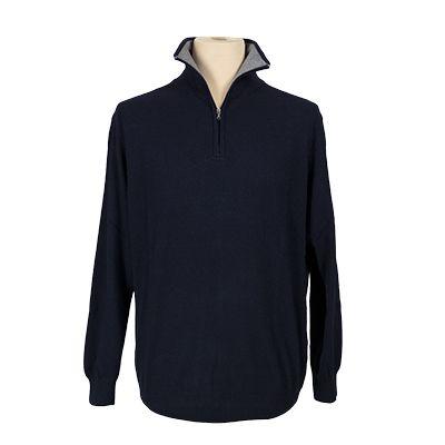 Maglia collo ciclista in contrasto - Blu - Invernale MELAVERDE. € 43,40. #hallofbrands #hob #maglia #sweater #jersey #knitwear #invernale #wintry #winter