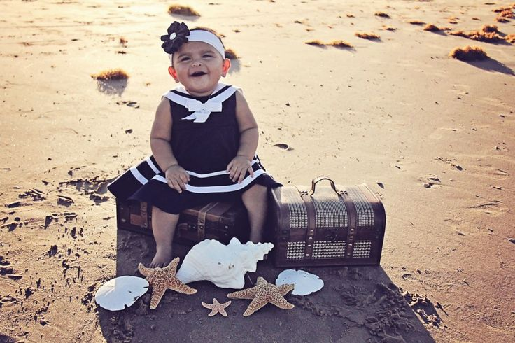 Babies   Iliasis Muniz Photographybaby girl, sailor outfit, shoreline, beach themed photoshoot, Mommy and Daughter, Nautical photoshoot, treasure chest and seashell props, sand, South Padre Island.