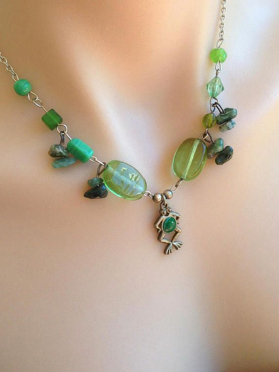 Frog Necklace Frog Gifts Nature Green Pendant Charm Boho