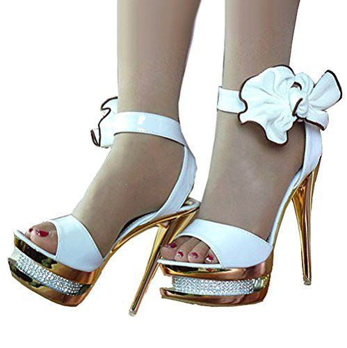 4bbc7bccc Getmorebeauty Women's Diamante Bows Glitter Hollow Strappy Wedding Shoes  Sandals 9 B(M) US. Heel measures approximately Platform measures  approximately ...