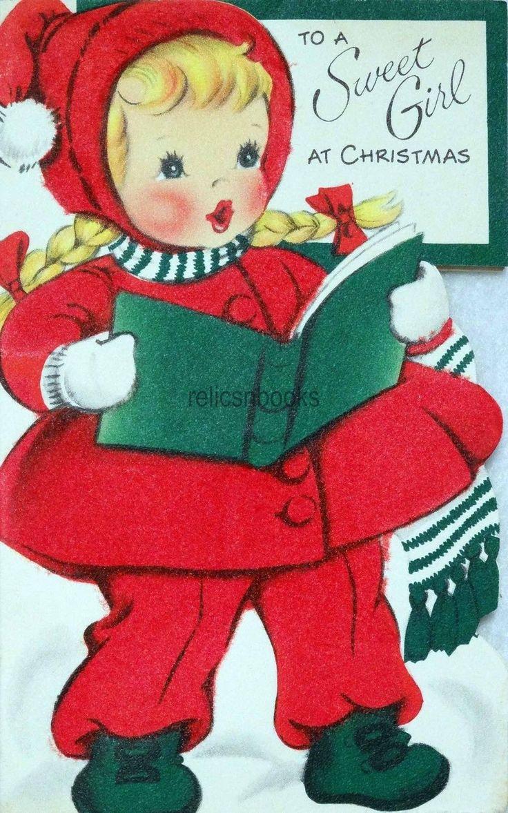 Scrapbook ideas christmas card - 434 50s Unused Girl In Fuzzy Red Coat Vintage Diecut Christmas Card Greeting Ebay