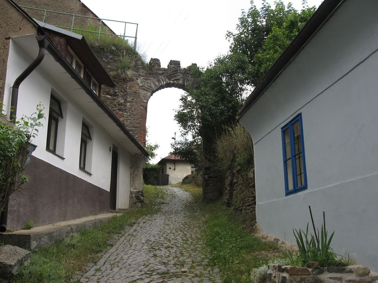 Last gate to village surrounding castle Pirkštej in Rataje nad Sázavou (distr.Kutná Hora)