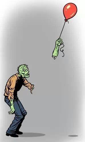 """""""Happiness is Fleeting"""" by Kerry Callen. That poor zombie!"""