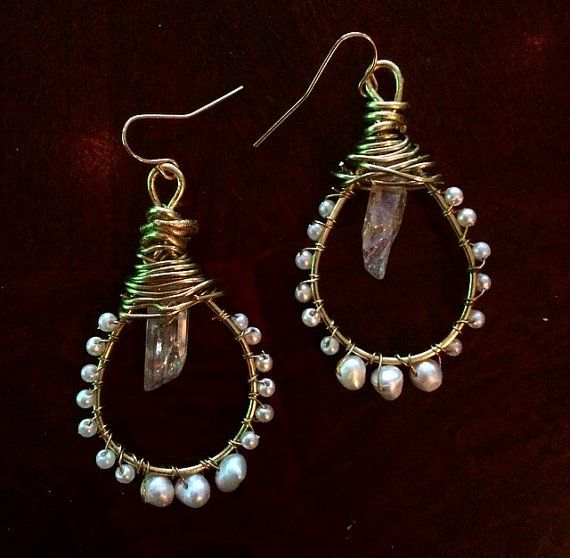 AB Luster Stone Nugget and Fresh Water Pearl by LeLadyMoonJewelry