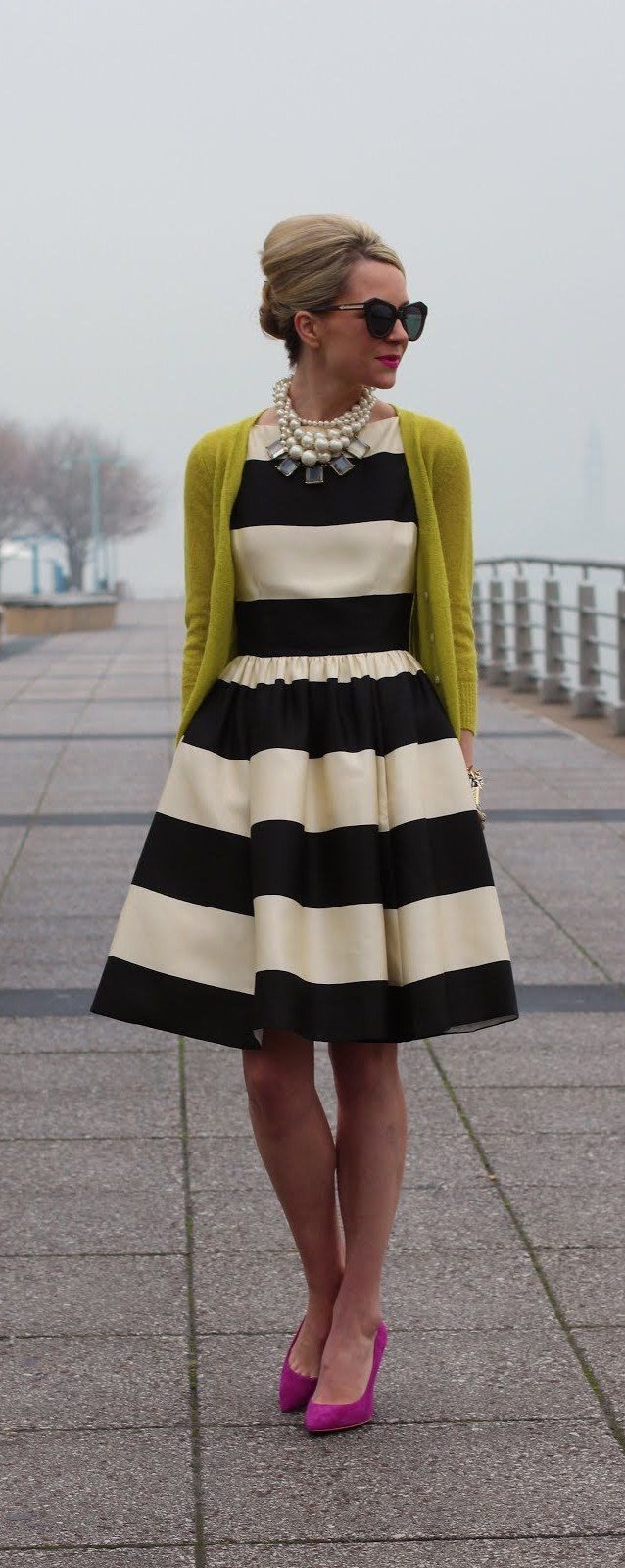 striped dress, statement necklace, cardigan