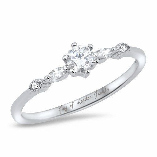 A Perfect .5CT Round Cut Russian Lab Diamond Engagement Ring