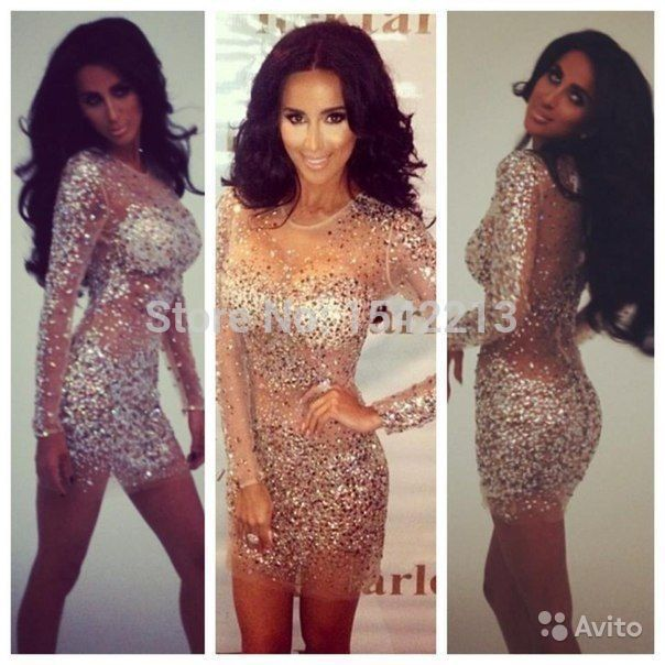 На заказ кристаллы блестящие бисером длинные рукава короткие шампанское коктейльное платье видеть сквозь выпускного ну вечеринку платья Vestido