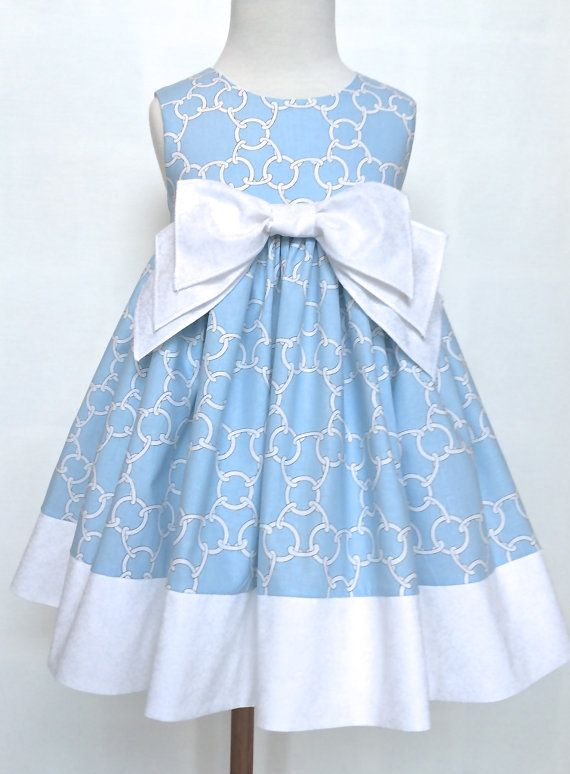 "Girls Easter Dress Toddler Easter Dress ""Molly"" Light Blue and White Sizes 2T - 6 Only by 8th Day Studio"
