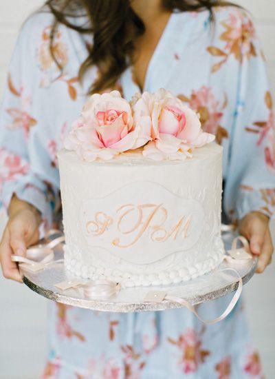 Monogrammed cake   Amy Arrington Photography