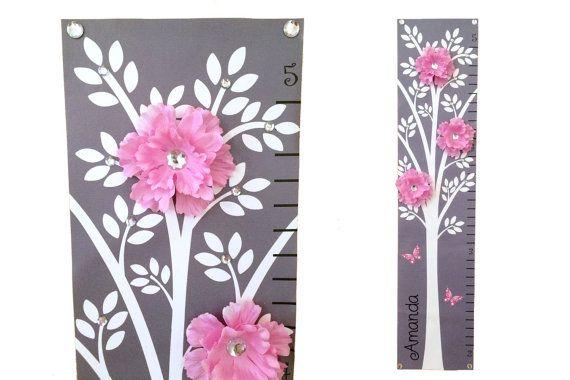 Modern Pink Grey Nursery Tree Flower Canvas by onehipstickerchic