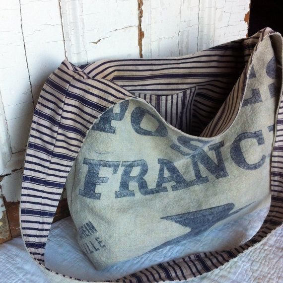 POSTES FRANCE  reconstructed vintage french mail sling by yahbag, $300.00
