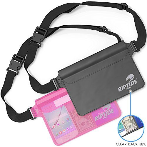Waterproof Fanny Pack 2 Pack For Men  Women Dry Bag Water Resistant With Adjustable Waist Strap Protects Valuables  At Water Sports Swimming Skiing BlackTransparent  Sheer Pink By Riptide ** Check out the image by visiting the link.Note:It is affiliate link to Amazon.
