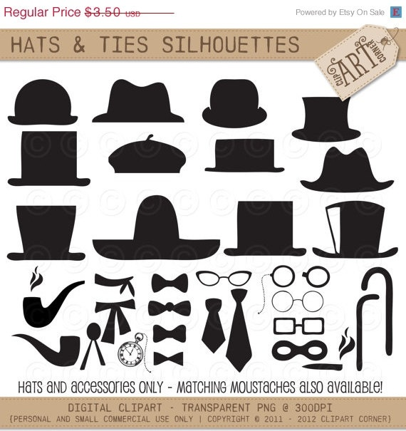 50  OFF  Clipart Silhouette  Gents Hats and Ties par ClipArtCorner, $1.75