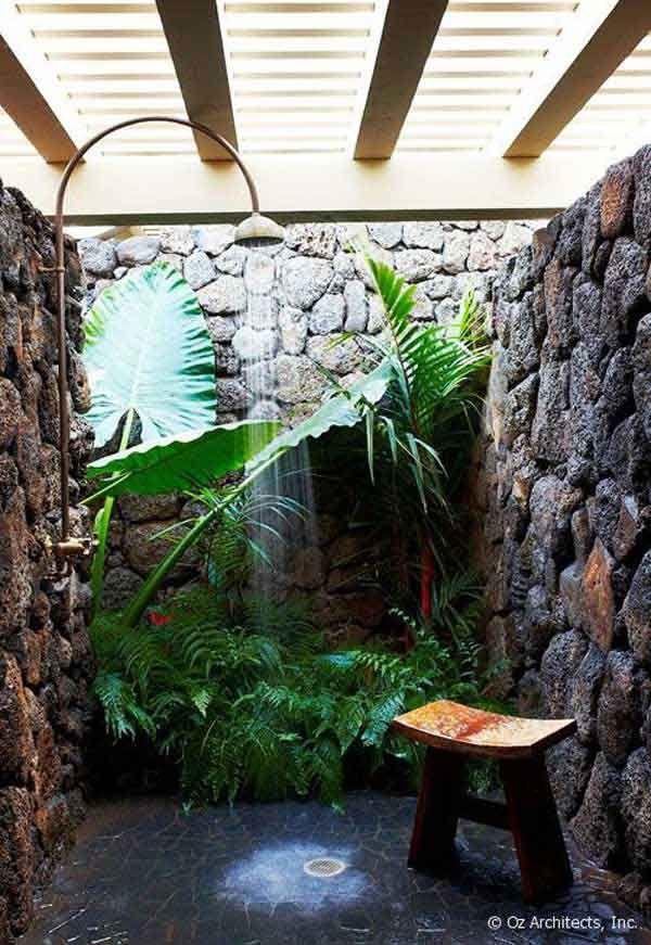 Douche jungle avec pierres