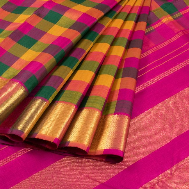 Handwoven Hamsadhvani Green & Magenta Kanchipuram Silk Saree With Palum Pazhamum Checks &  Bavanji Border 10012952