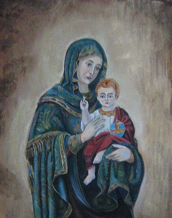 Fecioara cu pruncul, pictura pe panza, 83x52 cm, VANDUT