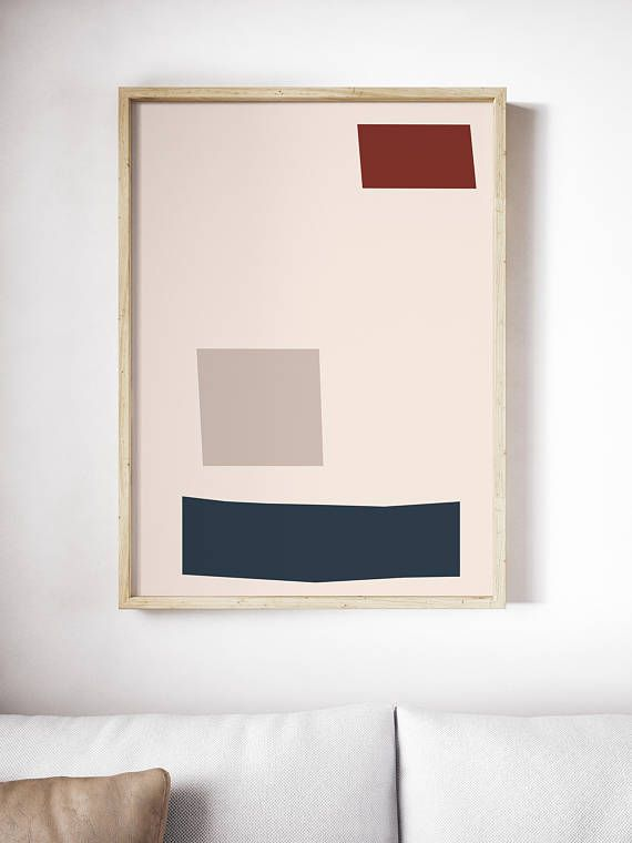 Geometric Mid Century Modern Print | Blush Pink Print | Beige Art | Red Blue Print | Minimal | Abstract | Large Wall Art | Home Decor  ---All Artwork is Printed on High Quality, 56 lb Premium Pro Matte Paper using Premium Quality Ink ---FREE Standard Shipping Anywhere in the U.S.!