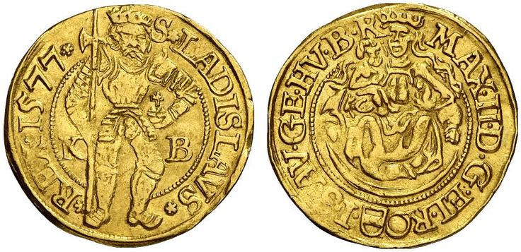 AV Goldgulden, posthumous issue. Hungary Coins, Habsburg Rulers, Maximilian II. 1564-1576, Kremnitz mint, 1577 KB. 3,52g. F 57. Good VF. Price realized 2011: 880 USD.
