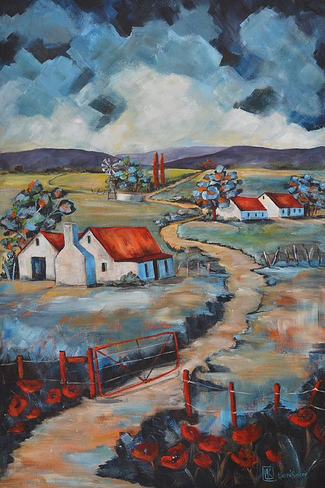 Landscape painting with an open red gate by Kareni Bester.