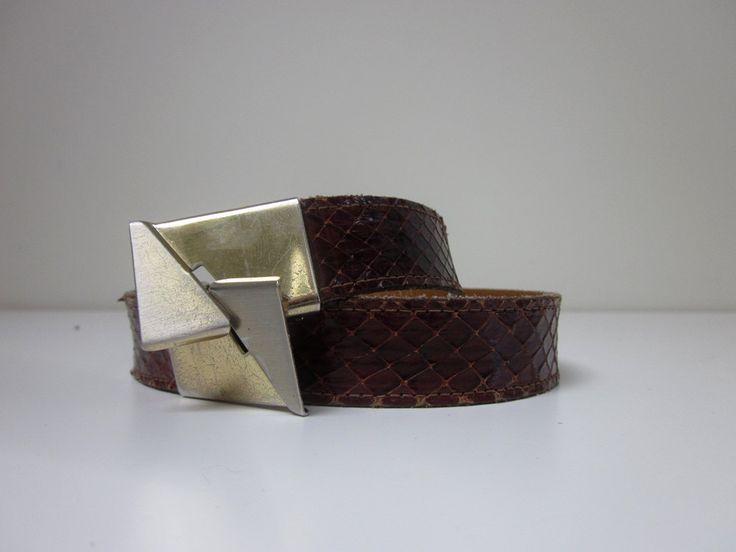 VINTAGE authentic rare 50s west german genuine brown snakeskin leather waist belt (sz S) by shopblackheart on Etsy