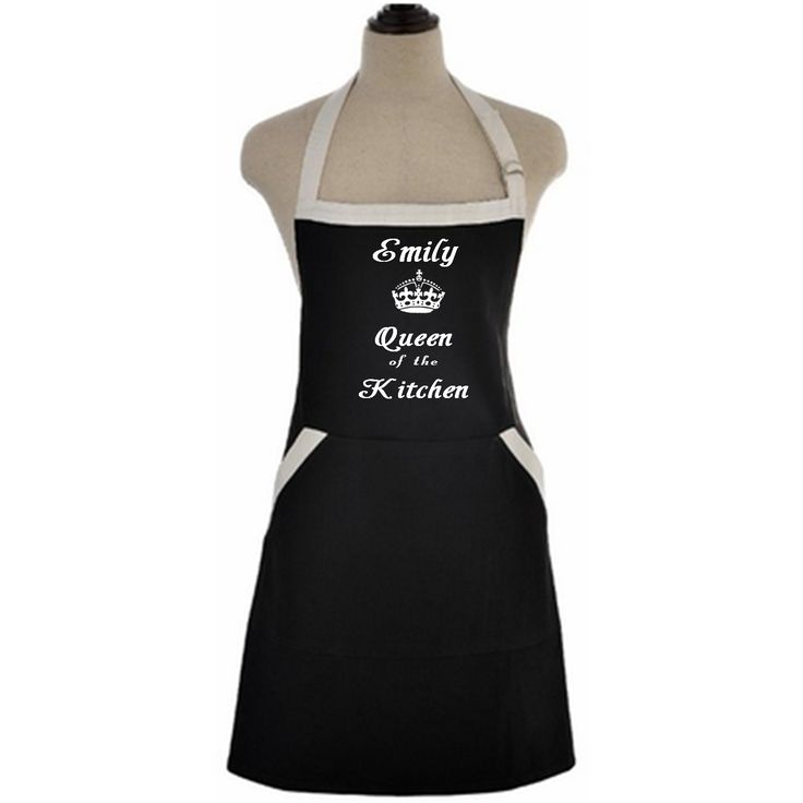 Queen Of The Kitchen Custom Apron, $22.99  Custom apron for the girl that is the queen of her kitchen. Decorated bold white letters and can be customized with your name.  This bib apron provides great coverage and protection from kitchen grease and food stains, it has double front pockets offer easy reachable space for your cell phone, recipe cards, writing utensils and more.   It has an adjustable neck strap with buckle and long ties,allowing customized apron fit & comfortable to wear. It…