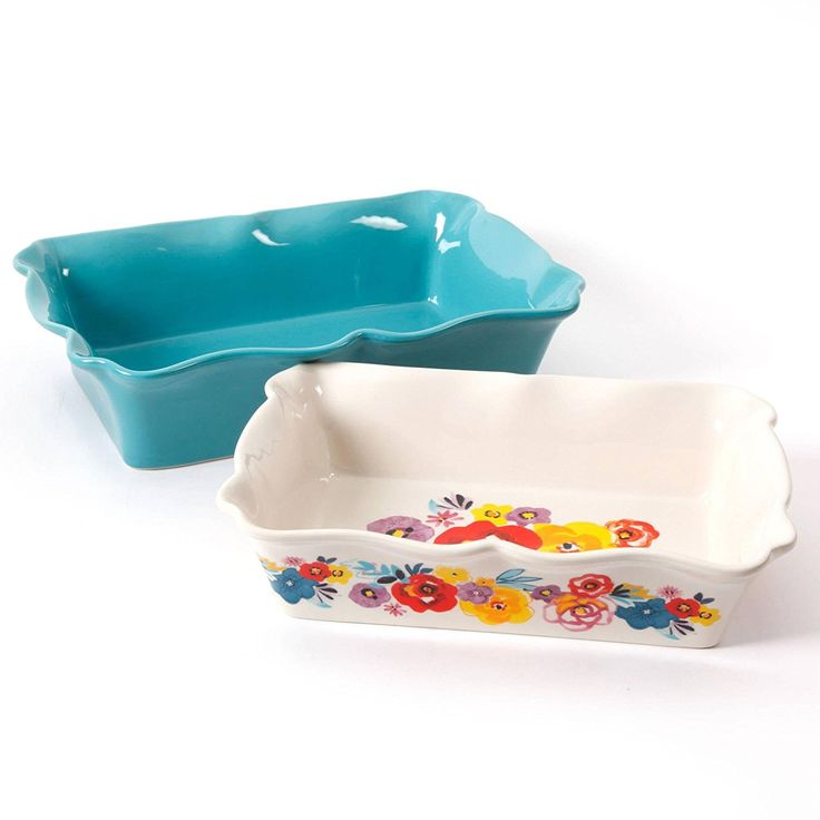 The Pioneer Woman Flea Market 2-Piece Decorated Rectangular Ruffle Top Ceramic Bakeware Set, turquoise and floral baker * Read more reviews of the product by visiting the link on the image.