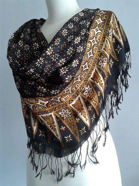 Vintage Black Shawl  hand-printed fabric  by JavaniceHandyCraft