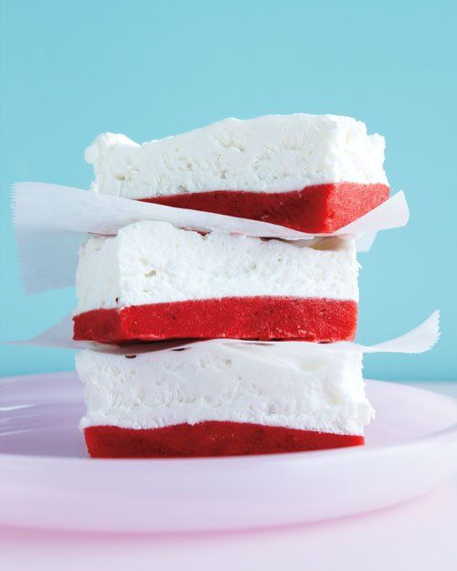 Strawberries and Cream Bars start with a strawberry granita base and ...