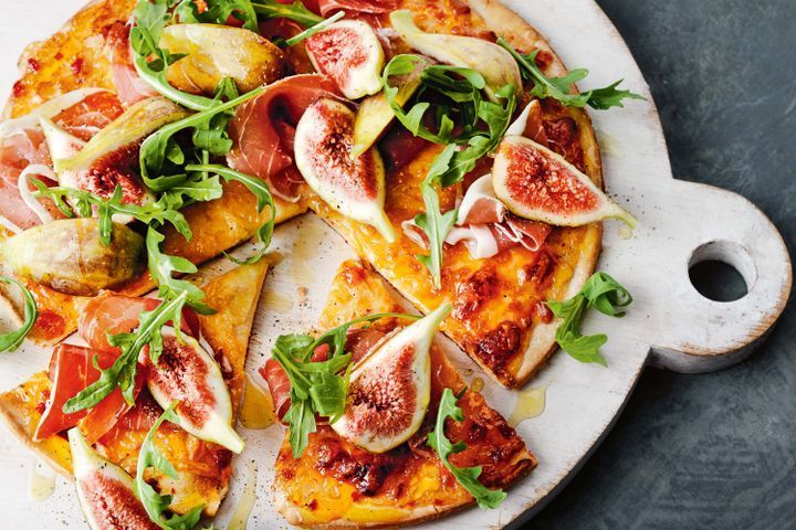 Fig, prosciutto and chilli jam pizza