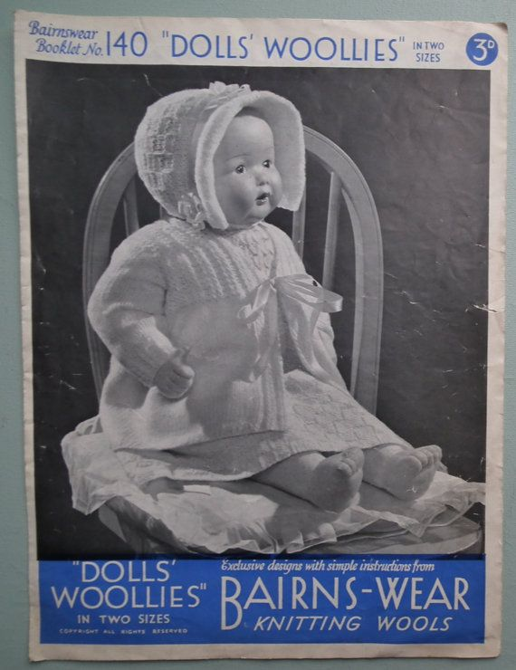 Vintage 1930s Knitting Pattern  Dolls' Woollies by sewmuchfrippery