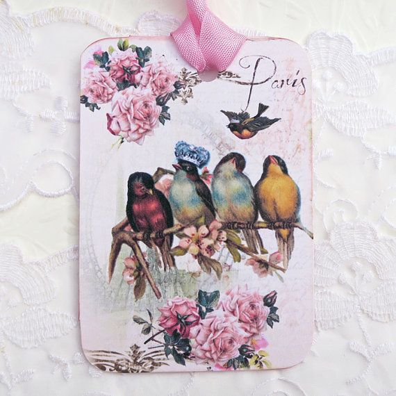 Bird Tags Vintage Paris Eiffel Tower-Gift by EnchantedQuilling